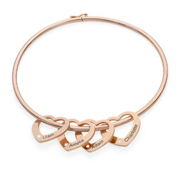 Bangle Bracelet with Heart Shape Pendants in Rose Gold Plated with Diamonds product photo