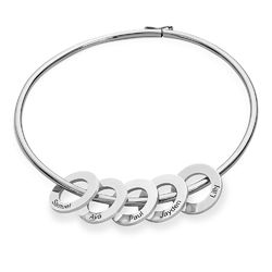 Bangle Bracelet with Round Shape Pendants in silver product photo