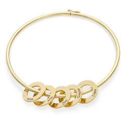 Bangle Bracelet with Round Shape Pendants in Gold Plating product photo