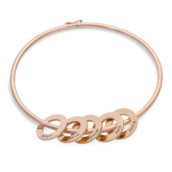 Bangle Bracelet with Round Shape Pendants in Rose Gold Plating product photo