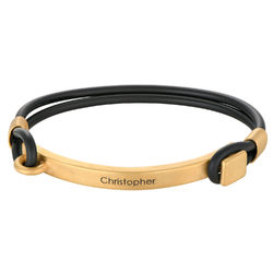 Personalised Rubber Bracelet with Engravable Bar in Gold Plated product photo