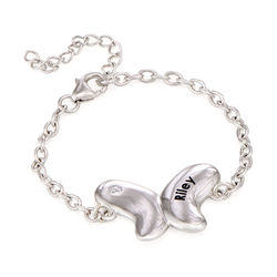 Butterfly Bracelet for Girls with Cubic Zirconia in Sterling Silver product photo