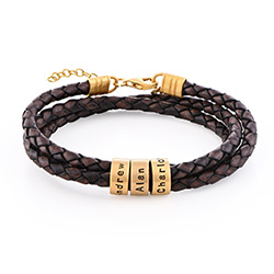 Women Braided Brown Leather Bracelet with Small Custom Beads in 18ct Gold Plating product photo