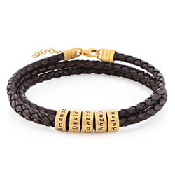Women Braided Brown Leather Bracelet with Small Custom Beads in 18ct Gold Vermeil product photo