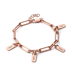 Chain Link Bracelet with Custom charms in 18ct Rose Gold Plating product photo