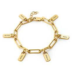 Chain Link Bracelet with Custom charms in 18ct Gold Vermeil product photo