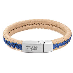 Men Flat Beige Leather Braided Bracelet product photo