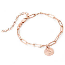 Odeion Initial Chain Bracelet / Anklet in 18ct Rose Gold Plating product photo