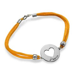 Engraved Heart Bracelet on Satin Cord product photo