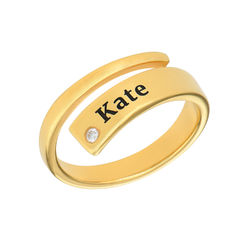 Custom Wrap Name Ring with Diamond in Gold Plating product photo