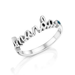 Personalised Birthstone Name Ring in Sterling Silver product photo