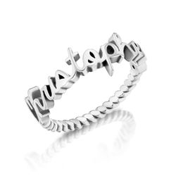 Personalised Birthstone Name Ring with Rope Band in Sterling Silver product photo