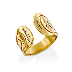 Hug Ring with Kids Names in Gold Vermeil product photo