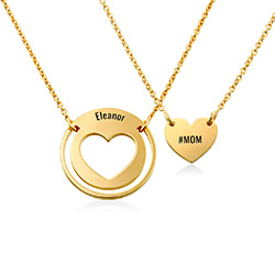 Mother Daughter Heart Necklace Set in 18ct Gold Plating product photo
