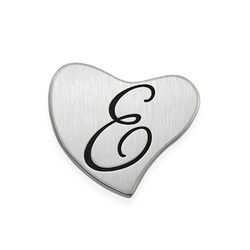 Floating Locket Plate - Silver Heart with Initial product photo