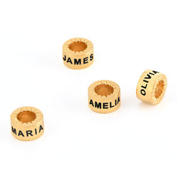 Custom Engraved Beads in 18ct Gold Vermeil for Linda Necklace product photo