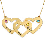 10ct Intertwined Hearts Birthstone Gold Necklace