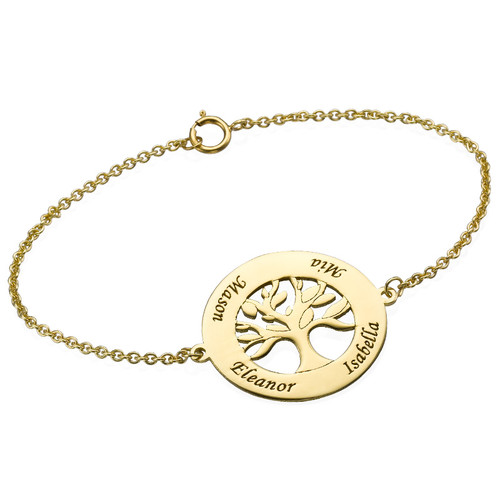14ct Gold Family Tree Bracelet with Engraving