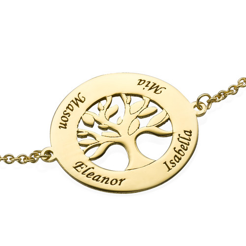14ct Gold Family Tree Bracelet with Engraving - 1