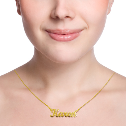 14ct Gold Script Style Name Necklace - 1