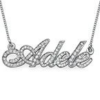 14ct White Gold Diamonds Name Necklace
