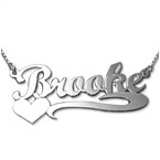 14ct White Gold Heart Name Necklace