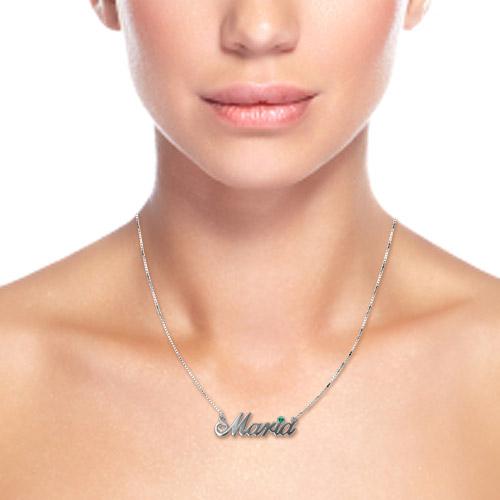 14k White Gold Swarovski Name Jewellery - 1