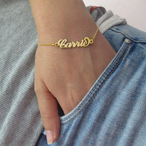 "18ct Gold-Plated ""Carrie"" Name Bracelet / Anklet - 2"