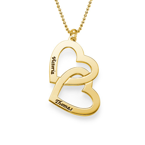 18ct Gold Plated Couples Heart in Heart Necklace