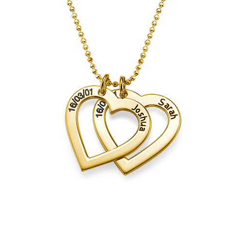 18ct Gold Plated Silver Engraved Heart Necklace - 1