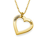 18ct Gold Plated Silver Engraved Heart Necklace