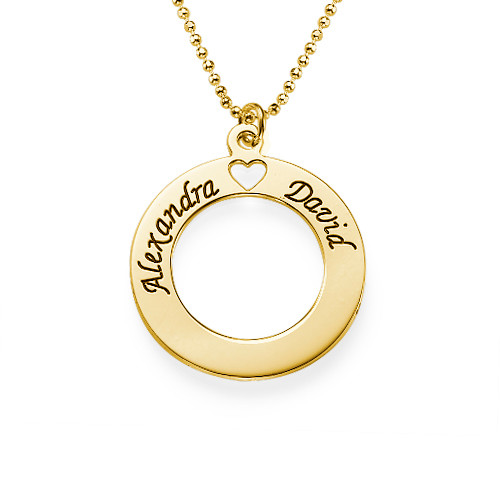 18ct Gold Plated Personalised Circle Necklace