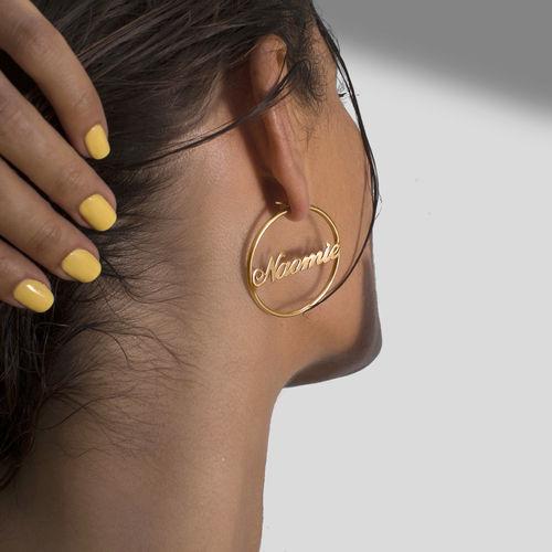 18ct Gold Plated Silver Hoop Name Earrings - 2