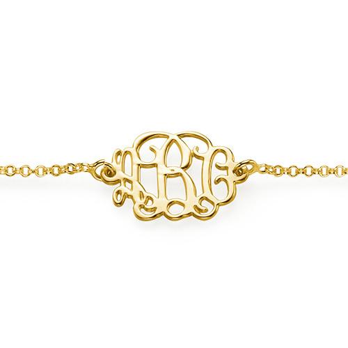 18ct Gold Plated Sterling Silver Monogram Bracelet / Anklet - 1
