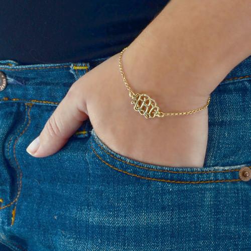 18ct Gold Plated Sterling Silver Monogram Bracelet / Anklet - 2