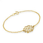 18ct Gold Plated Sterling Silver Monogram Bracelet