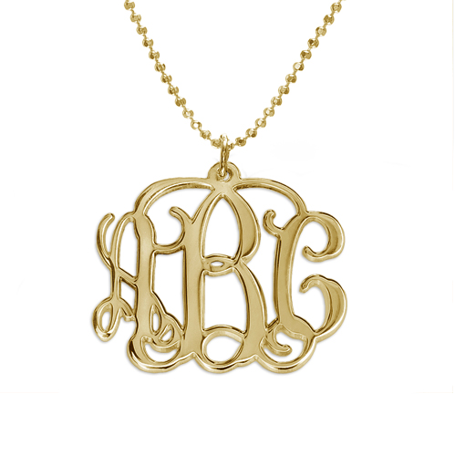 18ct Gold Plated Sterling Silver Monogram Necklace