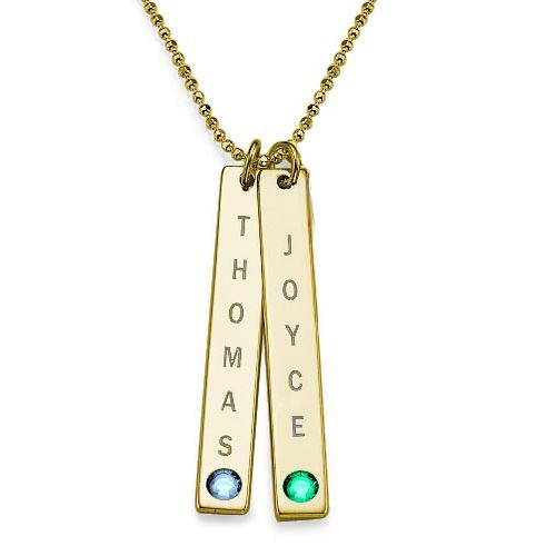 18ct Gold Plated Personalised Bar of Love Necklace
