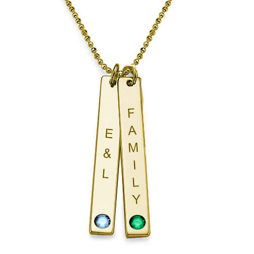18ct Gold Plated Personalised Bar of Love Necklace - 1