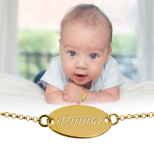 18ct Gold-Plated Personalised Baby Name Bracelet - 2