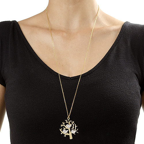 Initial Birds on a Gold Plated Tree Necklace - 1