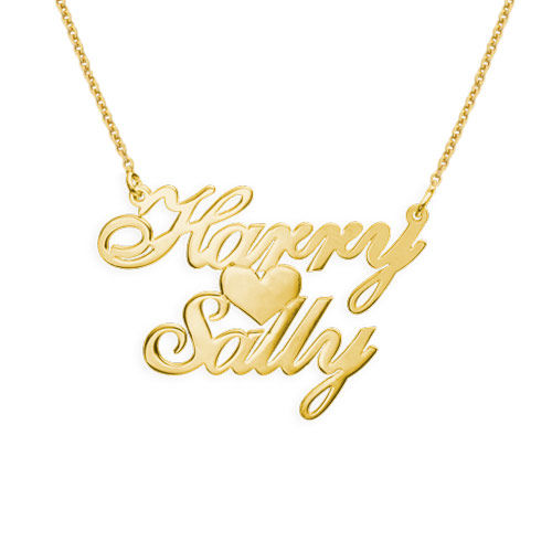 18ct Gold-Plated Two Names & Heart Pendant