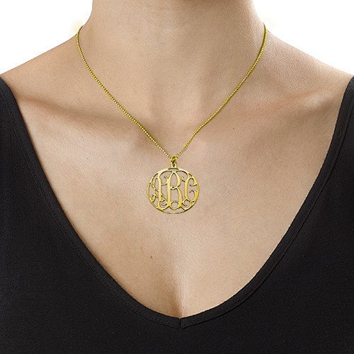18ct Gold Plated Circle Initials Necklace - 1