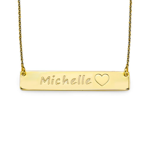 18ct Plated Gold Bar Necklace with Icons