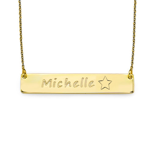 18ct Plated Gold Bar Necklace with Icons - 1