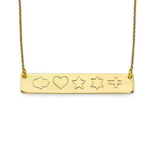 18ct Plated Gold Bar Necklace with Icons - 2