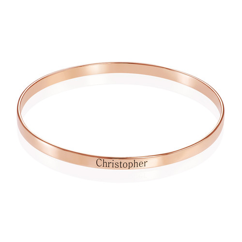 18ct Rose Gold Plated Engraved Bangle Bracelet