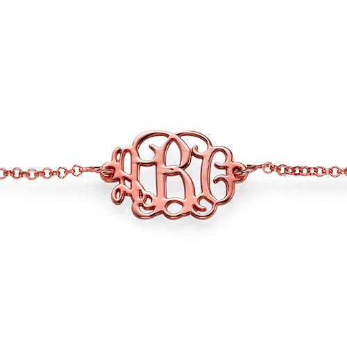 18ct Rose Gold Plated Silver Monogram Bracelet - 1