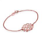 18ct Rose Gold Plated Silver Monogram Bracelet