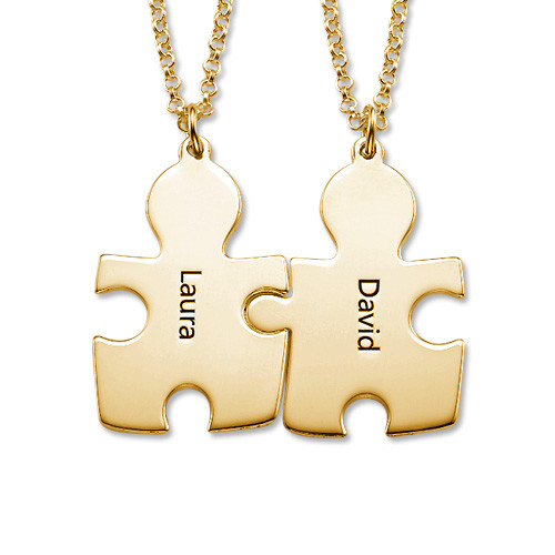18ct Gold Plated Couple's Puzzle Necklaces - 1